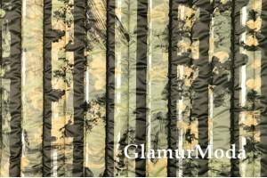 Курточная ткань на синтепоне желто-зеленый камуфляж