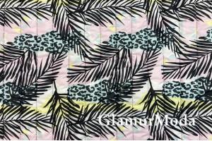 Курточная ткань на синтепоне, пальмовые листья на нежно-розовом фоне