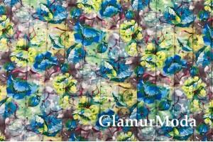 Курточная ткань на синтепоне, синие и желтые цветы с бордовыми лепестками