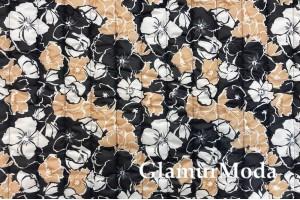 Курточная ткань на синтепоне, черно-белые и золотистые цветы