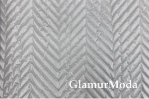 Курточная ткань на синтепоне серебряные точечки на белом