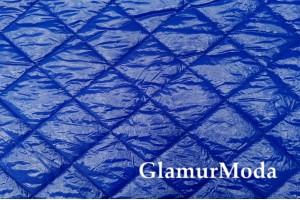Курточная ткань на синтепоне Квадраты синего цвета