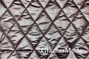 Курточная ткань на синтепоне, розово-серебряные ромбы
