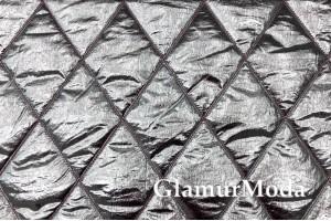 Курточная ткань на синтепоне, серебряные ромбы