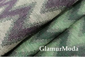 Лен декоративный, зеленые и фиолетовые зигзаги