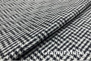 Лен костюмный 17С312, Шахматка, черно-белый цвет