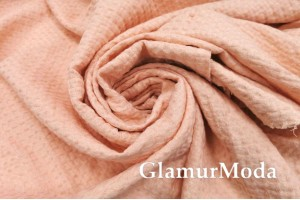 """Лен умягченный с эффектом мятости, персиково-розового цвета, рисунок """"Зефир"""""""