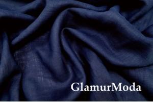 Лен умягченный с эффектом мятости 2С64, темно-синий