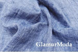 Лен умягченный с эффектом мятости 00С92, джинсовый