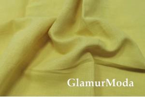 Лен с хлопком умягченный с эффектом мятости 00C34, лимонно-желтый