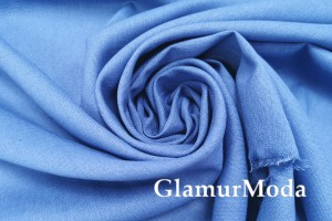 Лен с вискозой джинсового цвета