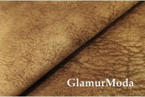 Микровелюр меланж на флисе для мебели светло-коричневого цвета YQq3-16
