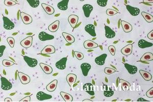 Муслин двухслойный 160 см, авокадо на белом фоне