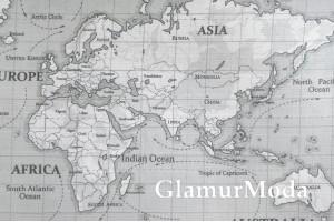 Муслин двухслойный 160 см, Карта мира на сером фоне