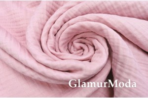 Муслин четырехслойный жатый 185 см, розового цвета