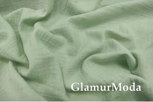 Муслин двухслойный жатый 150 см, нежно-зеленый (Китай)