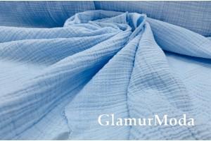 Муслин двухслойный жатый 123 см, голубой