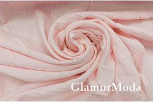 Муслин двухслойный жатый 123 см, нежно-розовый