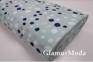 Ранфорс (поплин LUX) 240 см с глиттером, синие, белые, серебряные пятна на мятном фоне