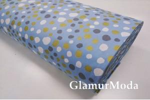 Ранфорс (поплин LUX) 240 см с глиттером, серые, белые, золотые пятна на голубом фоне