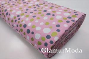 Ранфорс (поплин LUX) 240 см с глиттером, серые, белые, золотые пятна на розовом фоне