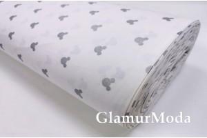 Ранфорс (поплин LUX) 240 см с глиттером, серебряные мышки на белом