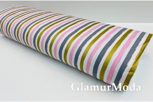 Ранфорс (поплин LUX) 240 см с глиттером, розовые, серые, золотые полоски