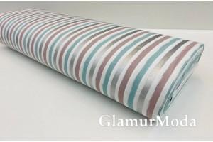 Ранфорс (поплин LUX) 240 см с глиттером, бирюзовые, серебряные, коричневые полоски