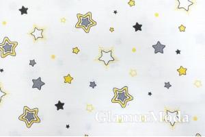 Муслин двухслойный 160 см, желтые и серые звезды