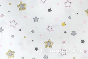 Муслин двухслойный 160 см, желтые, серые и розовые звезды