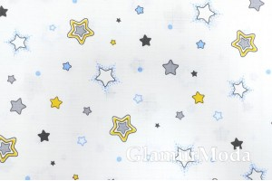 Муслин двухслойный 160 см, желтые, серые и голубые звезды