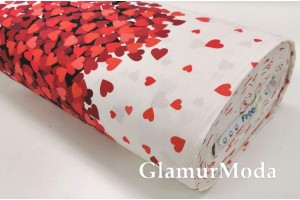 Ранфорс (поплин LUX) 240 см, красные сердца на белом фоне