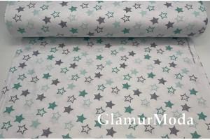 Ранфорс (поплин LUX) 240 см,  серые и мятные звездочки на белом фоне