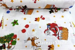 Ранфорс (поплин LUX) 240 см, Рождественская ночь Деда Мороза