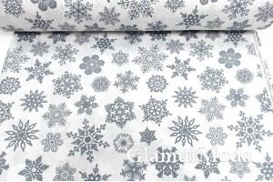 Ранфорс (поплин LUX) 240 см, темно-серые снежинки на белом фоне