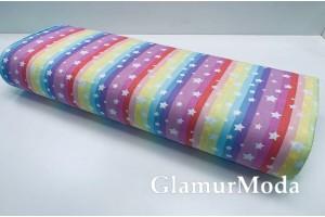 Ранфорс (поплин LUX) 240 см, звезды и разноцветные полоски (радуга)