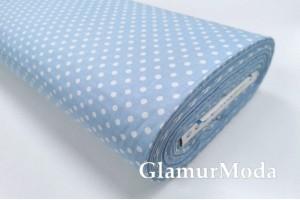 Ранфорс (поплин LUX) 240 см, белый горох на голубом фоне