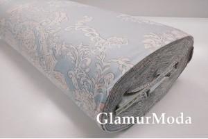 Сатин мерсеризованный 240 см с принтом, цветочные узоры на бледно-голубом фоне