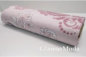 Сатин мерсеризованный 240 см с принтом, розовый и белый дамаск на нежно-розовом фоне