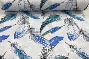 Сатин мерсеризованный 240 см с принтом, бирюзовые и голубые перья на белом фоне
