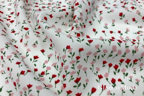 Блузочный креп цветочки на белом фоне