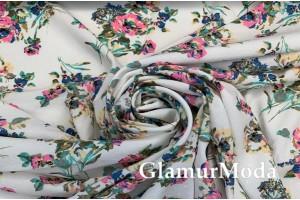НИАГАРА СОФТ малиновые  цветы на нежно-голубом фоне