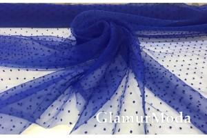 Органза горох синего василькового цвета