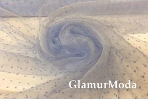 Органза горох голубого цвета