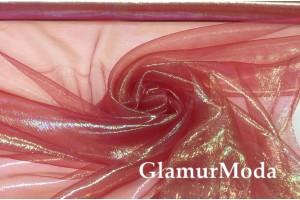 Органза металлик бордового цвета
