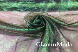 Органза металлик чёрно-зеленого цвета