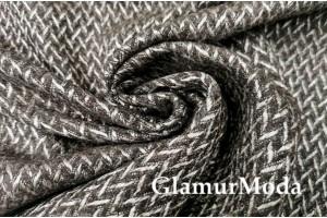 Ткань костюмно-пальтовая шерсть, коричневый узор, Италия