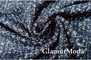 Ткань костюмно-пальтовая с шерстью, Шанель синий цвет, Италия