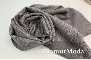 Пальтовая ткань Ёлочка серо-коричневого цвета