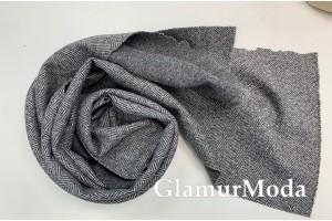 Пальтовая ткань Ёлочка серого цвета